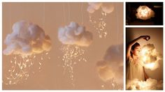 DIY Cloud Lights. Great idea for nursery or child's room.