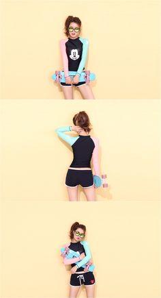 Face Coloration Rash Guard - Swim ❥ Korean Fashion Online Shopping Mall - KOODING.com