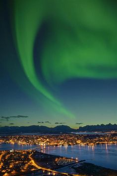 Beautiful view of the Northern Lights from Tromsø, Norway