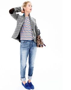 OCT '15 Style Guide: J.Crew women's Campbell blazer in tweed, Saint James® for J.Crew slouchy T-shirt, slim broken-in boyfriend jean in Holdom wash, Collection Peyton bag in calf hair and Georgie suede tassel loafers.