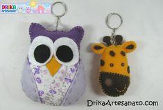 Artesanato em feltro: chaveiros com moldes • Drika Artesanato - O seu Blog de Artesanato.