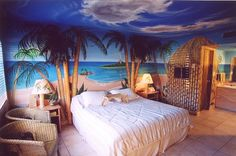 Beach Themed Bedroom- lets do it baby!!!!! We can even hang up our surf boards!!