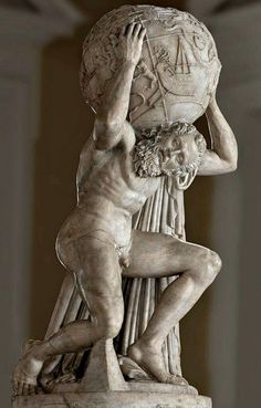 "Atlas (""Farnese"") holding up the celestial sphere, Roman statue (marble), copy after Hellenistic original, 3rd century AD? (original 2nd c. BC), (Museo Archeologico Nazionale, Naples)."