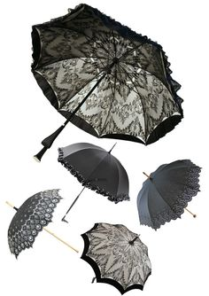 """Lace and frills — Ayako waterproof silk haute couture parasol,  La Parisienne frilly shade, Brighton black sunshade, Biarritz embroidered UV treated sun shade,  Grace haute couture umbrella in white taffetta white black Chantilly lace."""