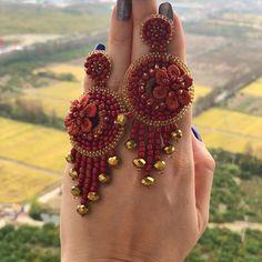 Bead Embroidery Jewelry, Beaded Jewelry Patterns, Soutache Jewelry, Fabric Jewelry, Boho Jewelry, Fashion Jewelry, Beaded Earrings, Earrings Handmade, Handmade Jewelry