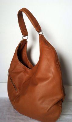Genuine brown leather large hobo purse shoulder handbag handmade on Etsy, $99.99