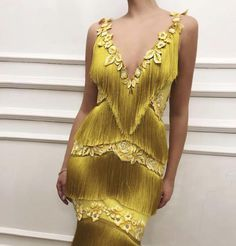 Details - Yellow dress color - Wavy fringe dress fabric - Handmade embroidered yellow flowers all over the dress - Mermaid gown - For parties and special events Long Prom Gowns, Long Evening Gowns, Fringe Dress, Mermaid Dresses, Mermaid Gown, Yellow Dress, Ladies Dress Design, Couture Fashion, Divas