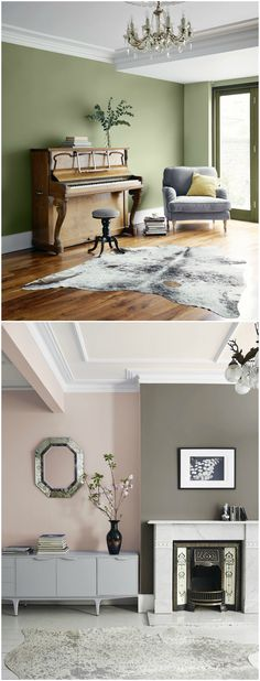 Create a traditional look with a modern twist in your living room with these sophisticated hues. Inspired by the rich heritage of British storytelling greats and their timeless masterpieces, a new range of 32 paint shades from Valspar (The Bookcase collec Living Room Green, Chic Living Room, New Living Room, Living Room Modern, Living Room Interior, Home And Living, Living Room Designs, Interior Paint, Scandi Living Room