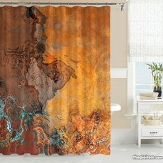 Abstract Art Shower Curtain, Southwest Shower Curtain In Rust And Turq U2013  Abstract Art Home