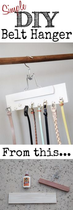 DIY Belt Hanger for under $5 at shanty-2-chic.com // Cheap and SO easy!