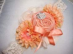 Baby Flower Headband - Coral Rosette Headband - Headband - Baby Headband - Photo Prop / Couture Coral Rosette Headband with Lace Headband