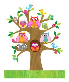 Pink Owls in a Tree Print -- I think Abigail's room needs to be decorated in Owls!