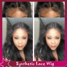 Body Wave Black Fiber Hair For American Brazilian Women 100% Synthetic Lace Front Wig With Baby Hair Glueless Cheap Lace Wig * Learn more by visiting the image link.
