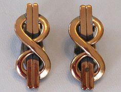 Vintage Mid Century Modern Renoir Copper Clip Earrings by COBAYLEY,