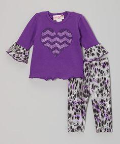 Love this Purple Heart Ruffle Top & Cheetah Leggings - Infant on #zulily! #zulilyfinds