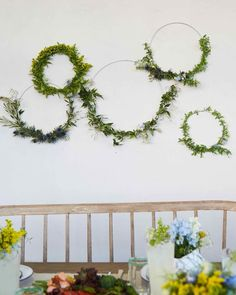 Spring Hoop Wreath | Martha Stewart - No fussing over symmetry or bending of boughs�this minimalist wreath is fashioned from a metal ring, fresh flowers, and floral wire. #floral #spring #springdecor
