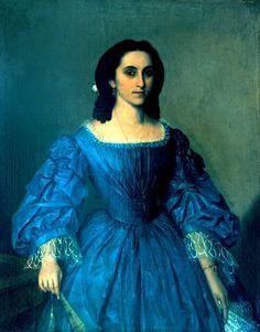 Portrait of Anei Enescu, oil on canvas, 1861 Antique Clothing, Historical Clothing, 1850s Fashion, Turquoise Art, European Dress, Civil War Dress, Blue Dresses, Oil On Canvas, Roman