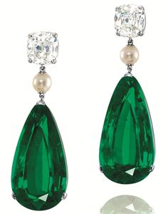 Other highlights include a pair of pear-shaped emerald, pearl and diamond earrings in platinum. Description from gemewizard.com. I searched for this on bing.com/images