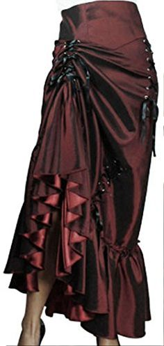 cool -Steampunk Ball- Burgundy Black Victorian Vintage Style Sateen Corset Skirt