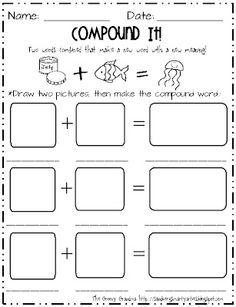 Compound Word Drawing Activity Worksheet