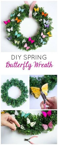 Spring Butterfly Wreath Make this simple and gorgeous DIY spring butterfly and boxwood wreath!Make this simple and gorgeous DIY spring butterfly and boxwood wreath! Wreath Crafts, Diy Wreath, Boxwood Wreath, Wreath Ideas, Tulle Wreath, Flower Crafts, Spring Projects, Spring Crafts, Art Projects