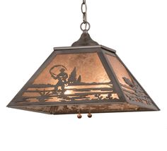 16 Inch Sq Fly Fishing Creek Pendant - 16 Inch Sq Fly Fishing Creek PendantA fly fisherman casts his line into tranquil waterson this handsome four sided pendant shade. The fixture is finished in Steel, has Silver mica panels, and is handcrafted in the USA by Meyda artisans. Theme: RUSTIC LODGE RECREATION COUNTRY Product Family: Fly Fishing Creek Product Type: CEILING FIXTURE Product Application: PENDANT Color: STEEL/SILVER MICA Bulb Type: MED Bulb Quantity: 2 Bulb Wattage: 60 Product…