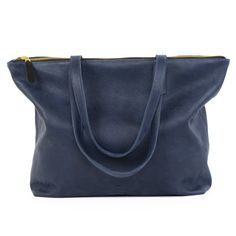 "13"" Leather Laptop Tote Navy"