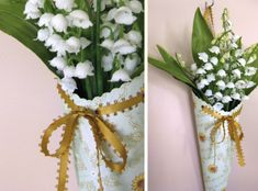 lillyella: May Day Flower Cones tutorial - paper tussie-mussie cones Diy Flowers, Spring Flowers, Flower Ideas, Glue Crafts, Paper Crafts, May Day Traditions, May Day Baskets, Pew Decorations, Fleurs Diy