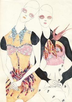 Illustration by Jiiakuann inspired by editorial in UK Vogue February 2010
