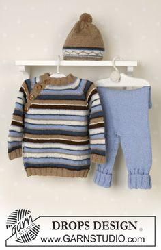 DROPS genser med raglan, bukse og lue med pongpong i Alpaca, kosedyr. ~ DROPS Design