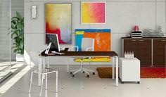 Workstation in art. Desk, modesty panel and drawer in metal and top finish Cherry  //  ---  //  Scrivania con gamba, pannello frontale e cassettiera in metallo e piano finitura Ciliegio