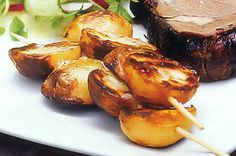 Barbecue-Rosated Baby Potatoes - A relaxed barbecue lunch becomes a spring affair with these golden potato skewers. Baby Golden Potatoes Recipe, Golden Potato Recipes, Baby Potato Recipes, Roasted Baby Potatoes, Bbq Potatoes, Easy Cooking, Healthy Cooking, Cooking Recipes, Vegan Menu