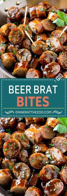 dinneratthezoo bratwurst appetizer sausage recipe bites beer brat Beer Brat Bites Recipe Sausage Appetizer Bratwurst RecipeYou can find Party appetizers and more on our website Sausage Appetizers, Yummy Appetizers, Appetizers For Party, Party Snacks, German Appetizers, Party Food Meat, Finger Food Appetizers, Potluck Finger Foods, Camping Appetizers