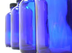 "4-1/2"" Boston Round Cobalt Blue Glass Bottles 4oz Standard Cap $1.99 each/ 6 for $1.19 each  Like these to use to make homemade vanilla"