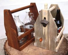 Rustic Wooden Wine Carrier and Four Pack by ReImagineUpCycling