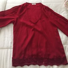 Worn Once Red Tobi open sleeve shirt Worn Once Red Tobi open sleeve shirt! great for a fancy dinner Tobi Tops Blouses