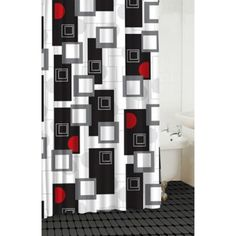 Modern Shower Curtain with Various Shapes in Black, Red, White and Grey