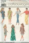 """An unused ca. 1986 Simplicity pattern 7928. Wardrobe for 11-1/2"""" dolls such as Barbie and Brooke Shields, and 12"""" dolls such as Ken - one size. Included in this doll wardrobe for the """"girls"""" are: Shirt, Bra Top, Shirt and Pants, 2 Dresses, and a Top and Skirt. There are patterns for a Shirt, Shorts and Pants for the Ken type doll."""