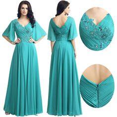 cf764eb6e3cad Plus Size Half Sleeve Long Chiffon Mother Of The Bride Groom Formal Prom  Dresses