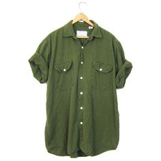 Army Green Linen Cotton Shirt 90s Pocket TShirt Button Up Blouse 1990s... ($34) ❤ liked on Polyvore featuring men's fashion, men's clothing, men's shirts, mens short sleeve button down shirts, men's apparel, mens cotton shirts, vintage mens shirts and vintage mens clothing