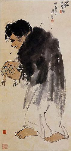 Li Keran  (Chinese, 1907–1989). The Immortal Liu Haichan Playing with a Toad,  dated 1937. The Metropolitan Museum of Art, New York. Gift of Robert Hatfield Ellsworth, in memory of La Ferne Hatfield Ellsworth, 1986 (1986.267.384) #Halloween