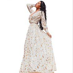 Gold Feather Print Maxi Dress //Price: $35.98 & FREE Shipping //     #womensfashion