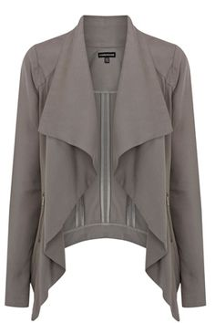 This zip detail draped jacket is constructed out of a softly tailored fabric. This open front jacket features long sleeves with a rib knit fabric on the underside of the arms with a draped waterfall front and exposed metal zip pockets at the side. This draped open front makes it an ideal layering piece to add a smart jacket to your look.   Click Here To Buy:  http://www.warehouse.co.uk/zip%20detail%20drape%20jacket/tailoring/Warehouse/fcp-product/4313040572#DX3eSkq0YlhyKjF2.99