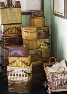 Inspired by old wicker picnic baskets, these tin hampers from the 1930s to 1960s are reminders of a time when summer picnics were a common pastime. The metal is painted and stamped to approximate old-fashioned wicker. Stack tins to show off different patterns, colors, and sizes.
