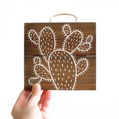 Cactus Illustration on Wood Cactus Painting Wall by walrusandtoad