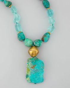 Chrysocolla Beaded Pendant Necklace by Nest at Neiman Marcus.