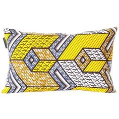 Yellow Wax Print Rectangular Pillow Cover ($40) ❤ liked on Polyvore featuring home, home decor, throw pillows, pillows, rectangle throw pillow, african home decor, zippered throw pillows, turkish throw pillows and patterned throw pillows