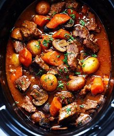 serving: 8 Ingredients 1 1/2 pounds lean beef chuck, cut into bite size cubes 1 pound russet (Idaho) potatoes, peeled and chopped into large cubes 2 carrots, chopped into 1/2 inch thick slices 2 stalks celery,