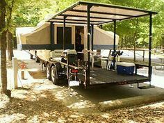 2011 20 ft Better Built Trailer with a 2010 Flagstaff pop-up camper mounted - Why not put our tent on a trailer to prevent mud/water/rock problems? Camping Glamping, Camping And Hiking, Camping Survival, Camping Life, Camping Hacks, Outdoor Camping, Camping Ideas, Popup Camper, Diy Camper