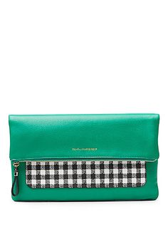 Voyage Gingham Colorblock Foldover Pochette in in Spring Green/black/ White